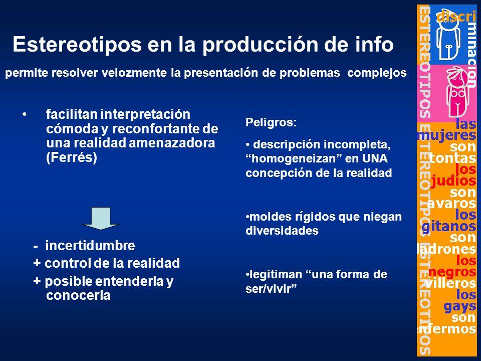 Estereotipos en la producción de info