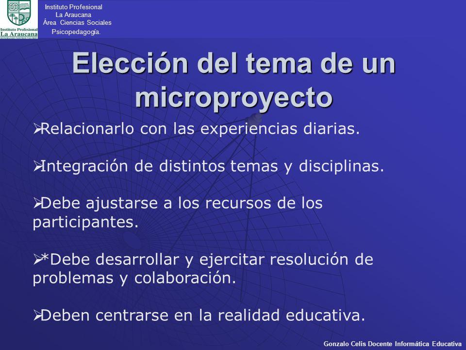 Elección del tema de un microproyecto