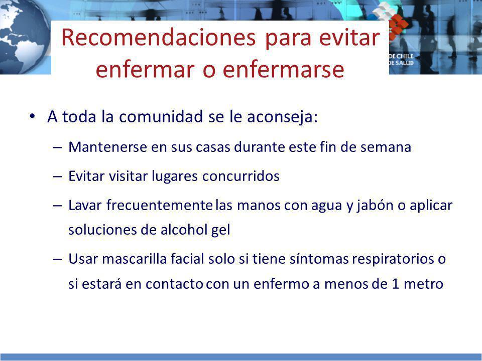 Recomendaciones para evitar enfermar o enfermarse