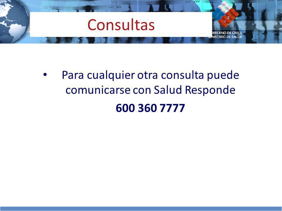 Para cualquier otra consulta puede comunicarse con Salud Responde