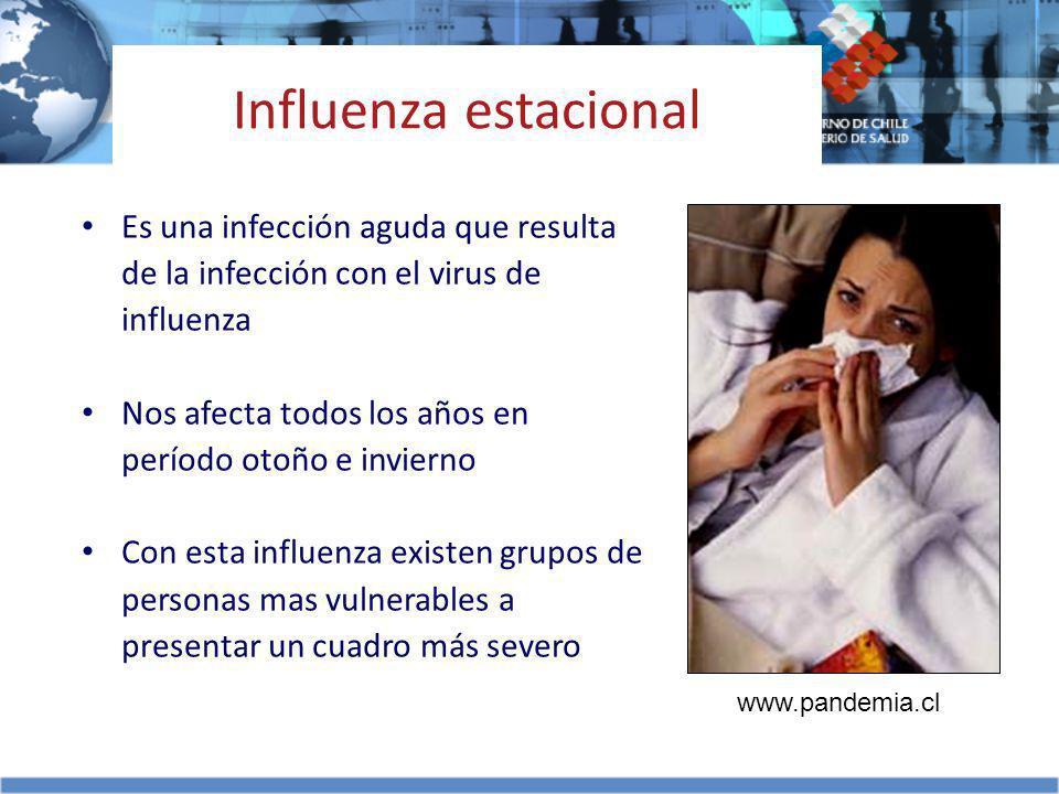 Influenza estacional Es una infección aguda que resulta de la infección con el virus de influenza.