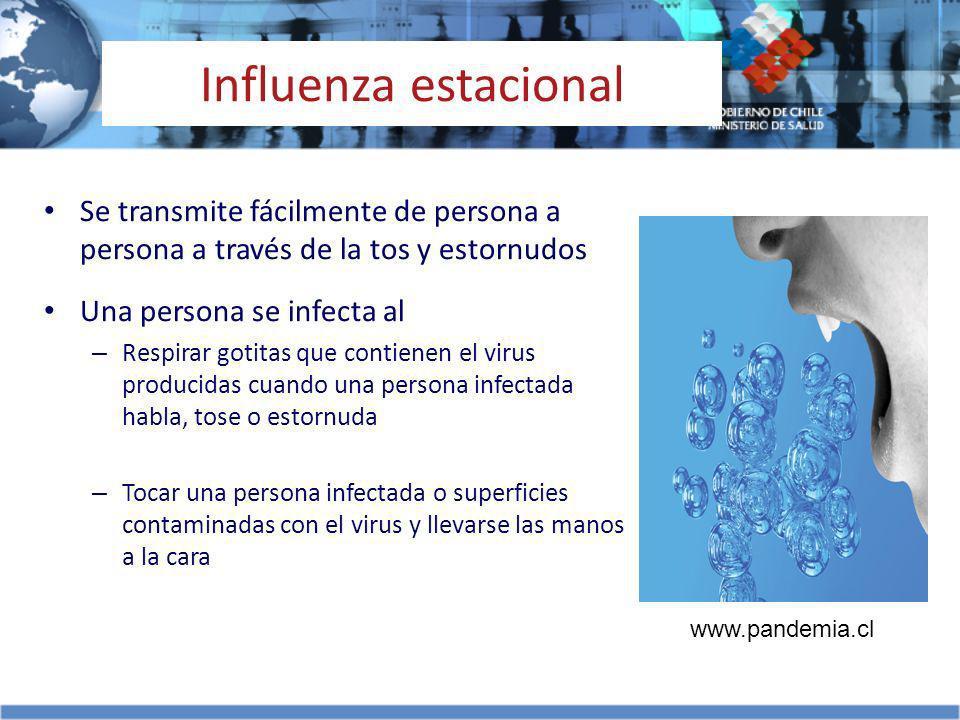 Influenza estacional Se transmite fácilmente de persona a persona a través de la tos y estornudos. Una persona se infecta al.
