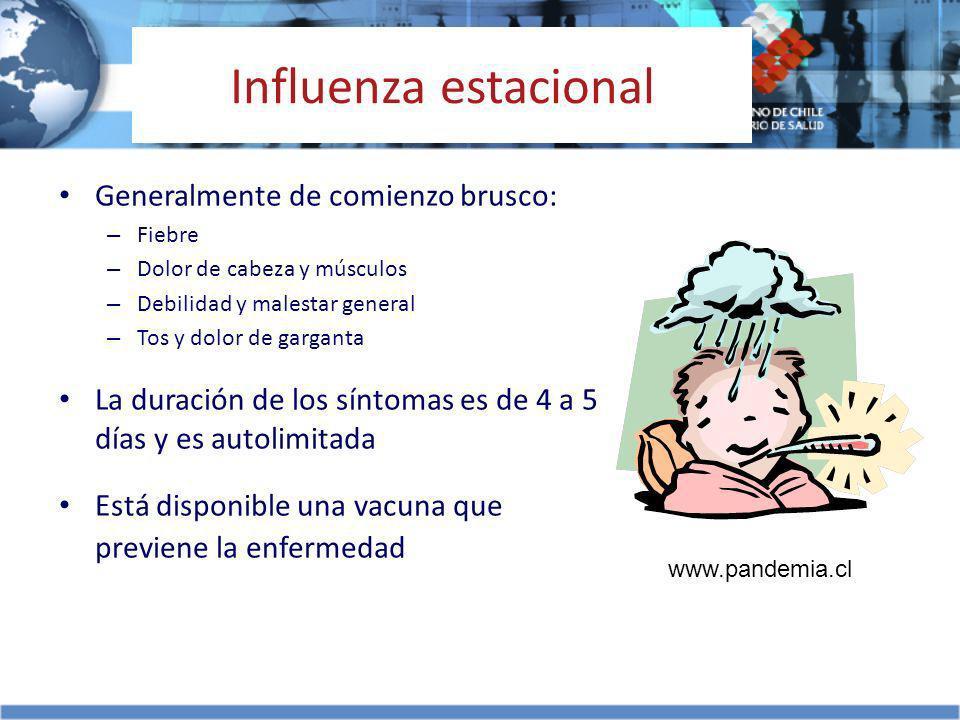Influenza estacional Generalmente de comienzo brusco: