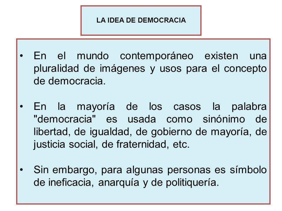 LA IDEA DE DEMOCRACIAEn el mundo contemporáneo existen una pluralidad de imágenes y usos para el concepto de democracia.