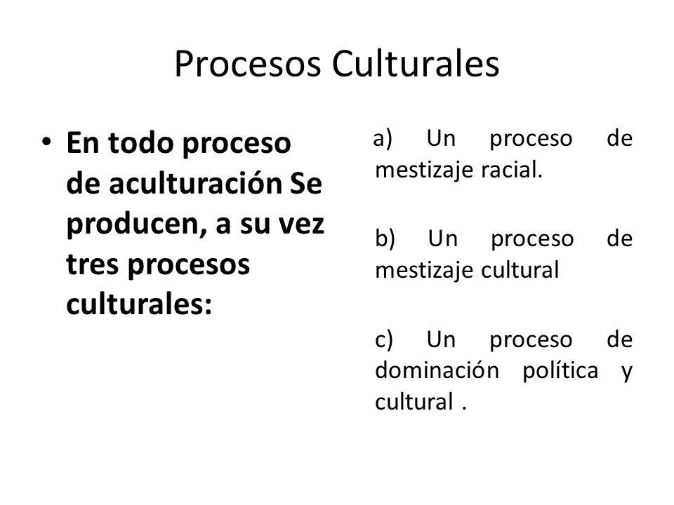 Procesos Culturales En todo proceso de aculturación Se producen, a su vez tres procesos culturales: