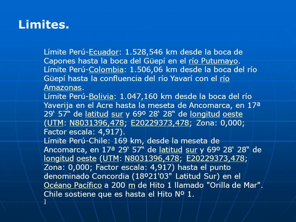 Limites. Límite Perú-Ecuador: 1.528,546 km desde la boca de Capones hasta la boca del Güepí en el río Putumayo.