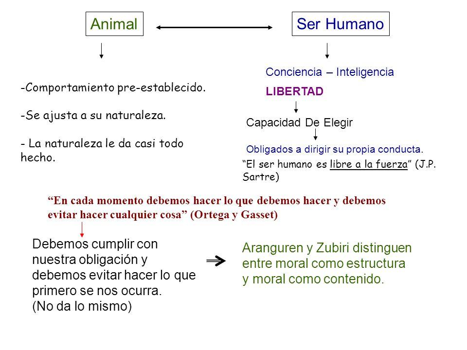 AnimalSer Humano. Conciencia – Inteligencia. LIBERTAD. Capacidad De Elegir. Obligados a dirigir su propia conducta.