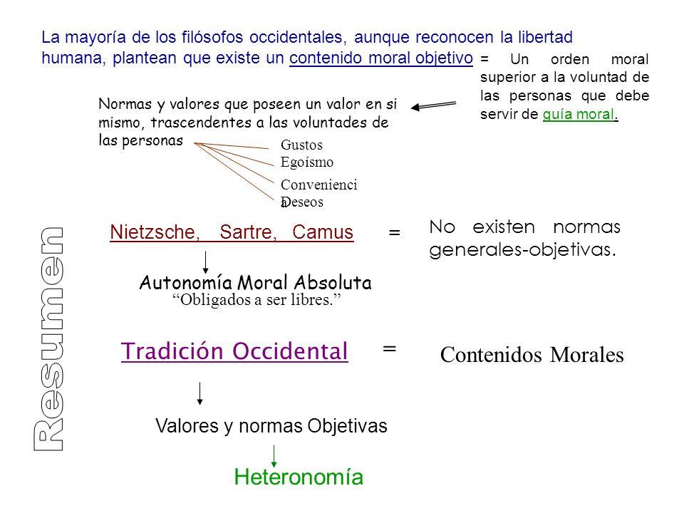 Resumen = Tradición Occidental Contenidos Morales Heteronomía