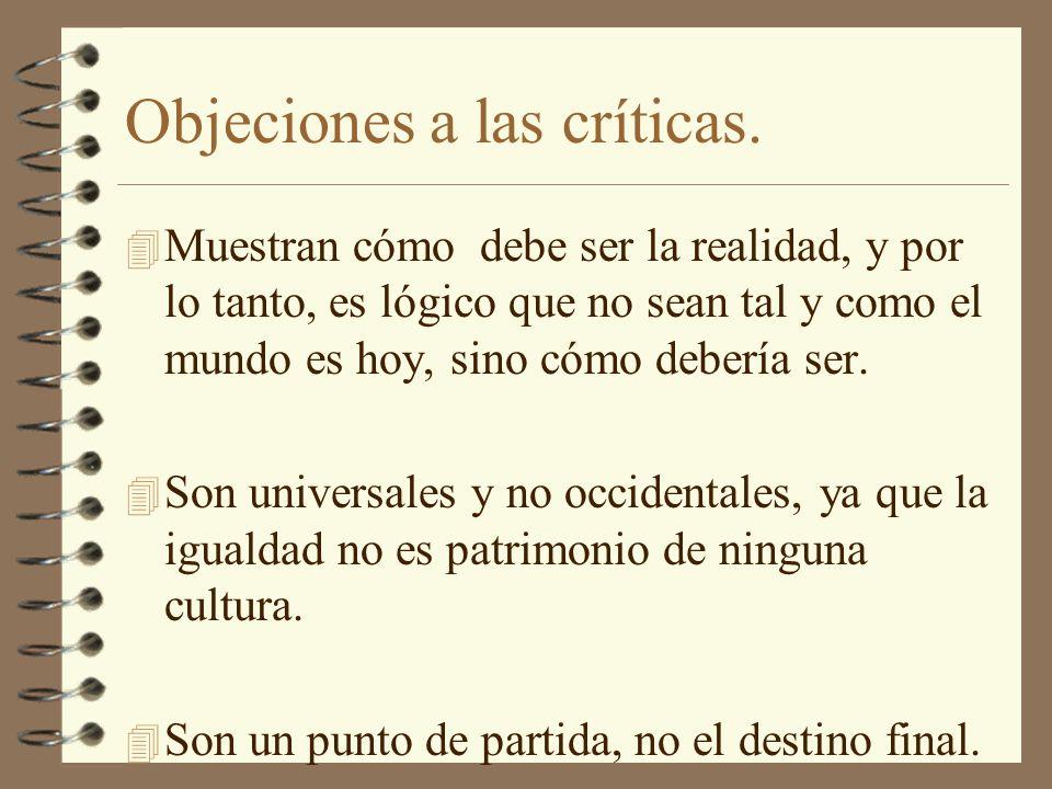 Objeciones a las críticas.