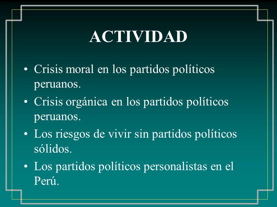 ACTIVIDAD Crisis moral en los partidos políticos peruanos.