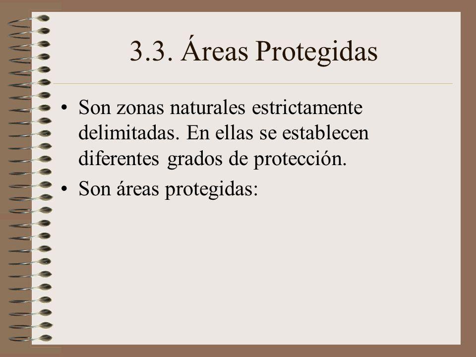 3.3. Áreas ProtegidasSon zonas naturales estrictamente delimitadas. En ellas se establecen diferentes grados de protección.