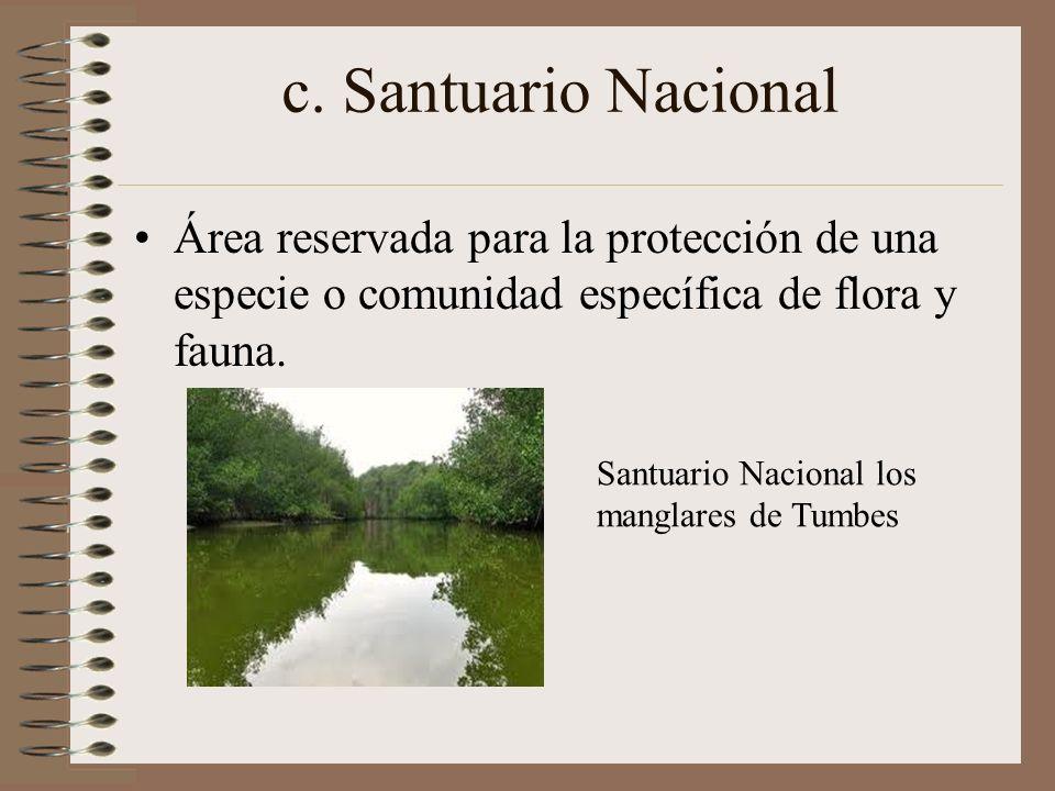 c. Santuario NacionalÁrea reservada para la protección de una especie o comunidad específica de flora y fauna.