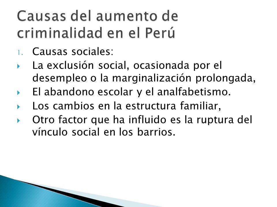 Causas del aumento de criminalidad en el Perú