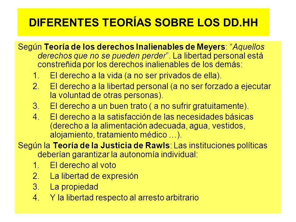 DIFERENTES TEORÍAS SOBRE LOS DD.HH