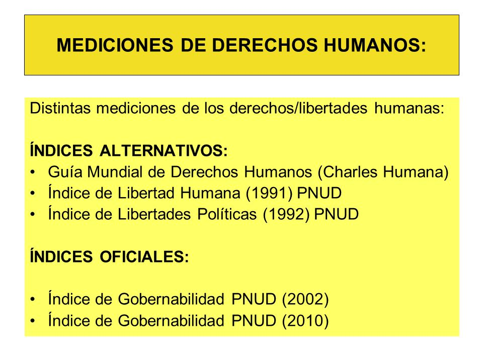 MEDICIONES DE DERECHOS HUMANOS: