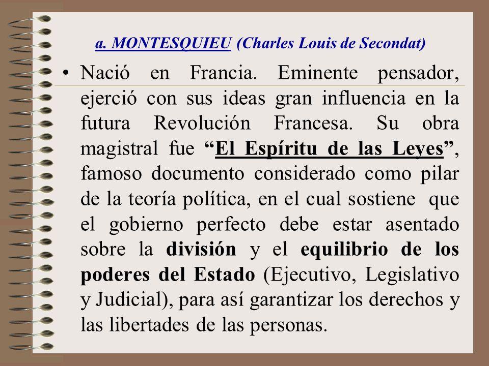 a. MONTESQUIEU (Charles Louis de Secondat)