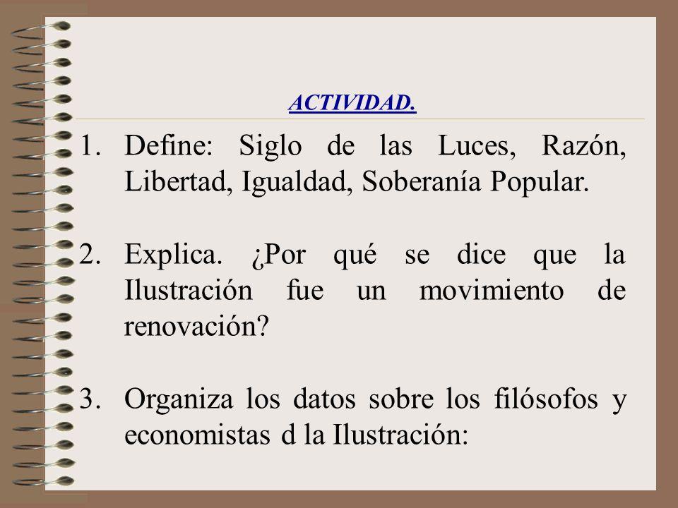 Organiza los datos sobre los filósofos y economistas d la Ilustración: