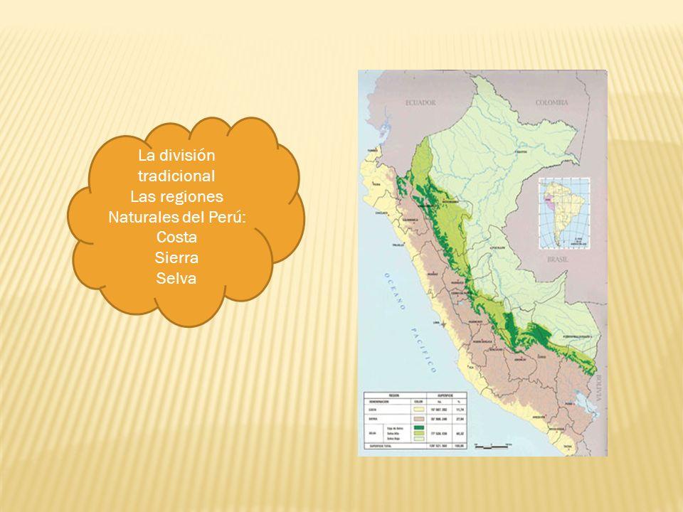 La división tradicional Las regiones Naturales del Perú: Costa Sierra