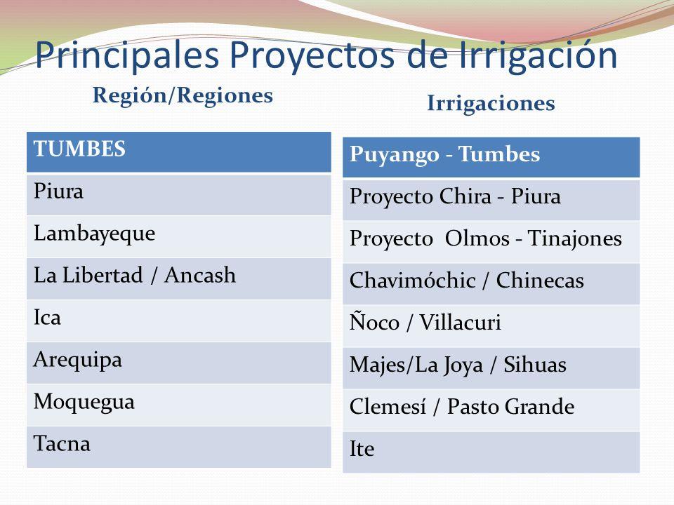 Principales Proyectos de Irrigación
