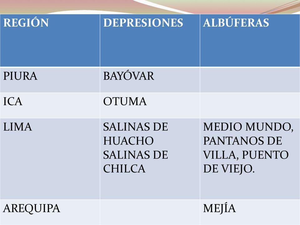 REGIÓN DEPRESIONES. ALBÚFERAS. PIURA. BAYÓVAR. ICA. OTUMA. LIMA. SALINAS DE HUACHO. SALINAS DE CHILCA.