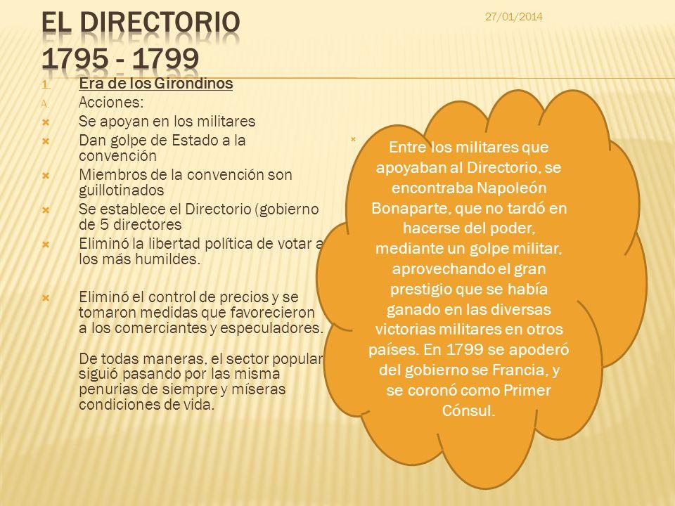 El DIRECTORIO 1795 - 1799 Era de los Girondinos