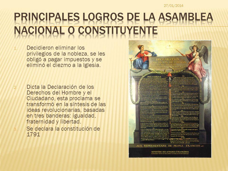 PRINCIPALES LOGROS DE LA ASAMBLEA NACIONAL O CONSTITUYENTE