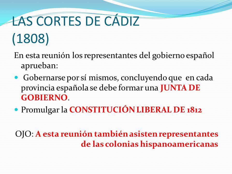LAS CORTES DE CÁDIZ (1808) En esta reunión los representantes del gobierno español aprueban: