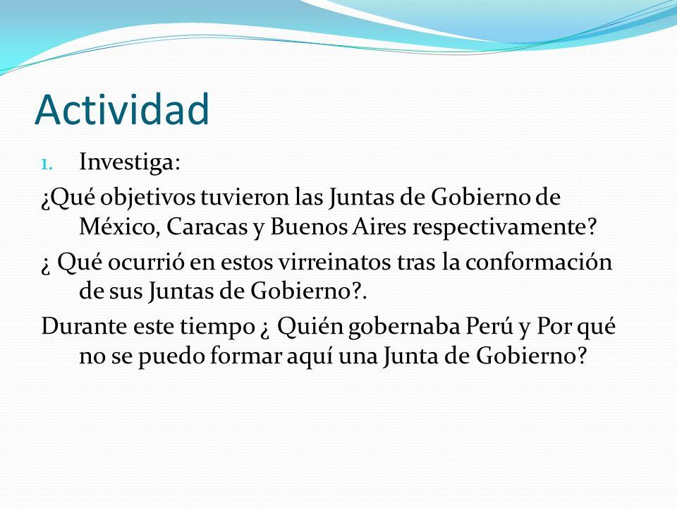 Actividad Investiga: ¿Qué objetivos tuvieron las Juntas de Gobierno de México, Caracas y Buenos Aires respectivamente