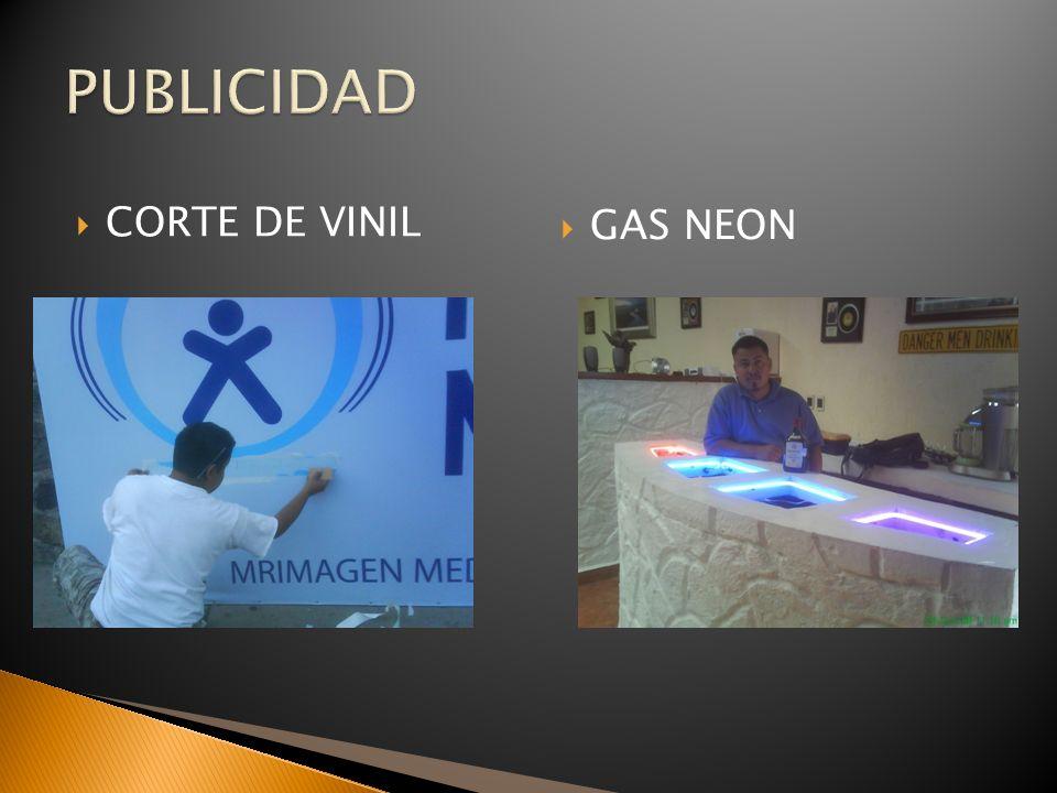 PUBLICIDAD CORTE DE VINIL GAS NEON