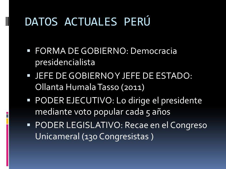 DATOS ACTUALES PERÚ FORMA DE GOBIERNO: Democracia presidencialista