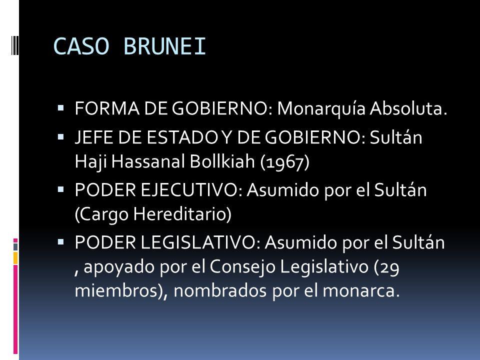 CASO BRUNEI FORMA DE GOBIERNO: Monarquía Absoluta.