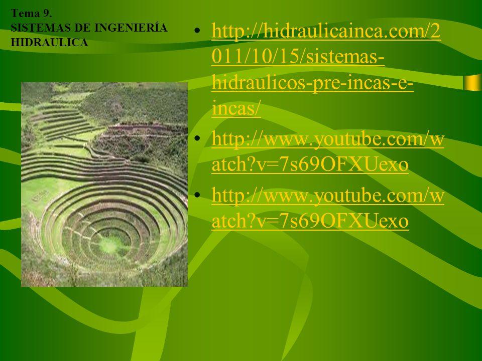 Tema 9. SISTEMAS DE INGENIERÍA HIDRAULICA
