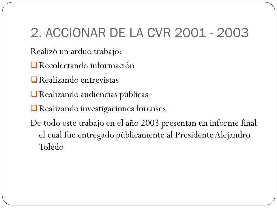 2. ACCIONAR DE LA CVR 2001 - 2003 Realizó un arduo trabajo: