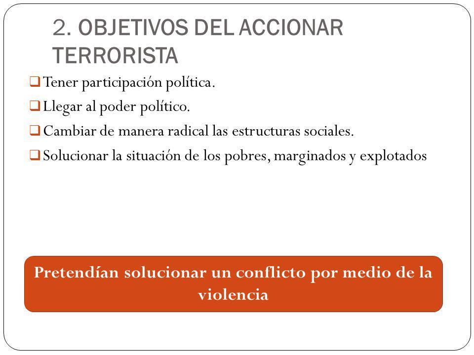 2. OBJETIVOS DEL ACCIONAR TERRORISTA