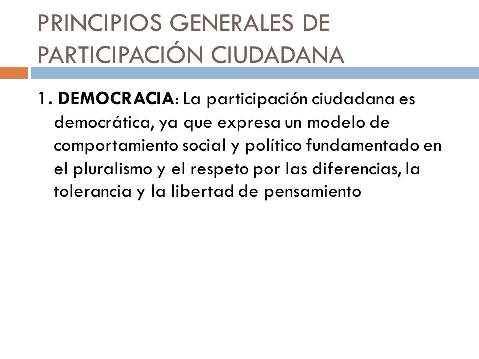 PRINCIPIOS GENERALES DE PARTICIPACIÓN CIUDADANA