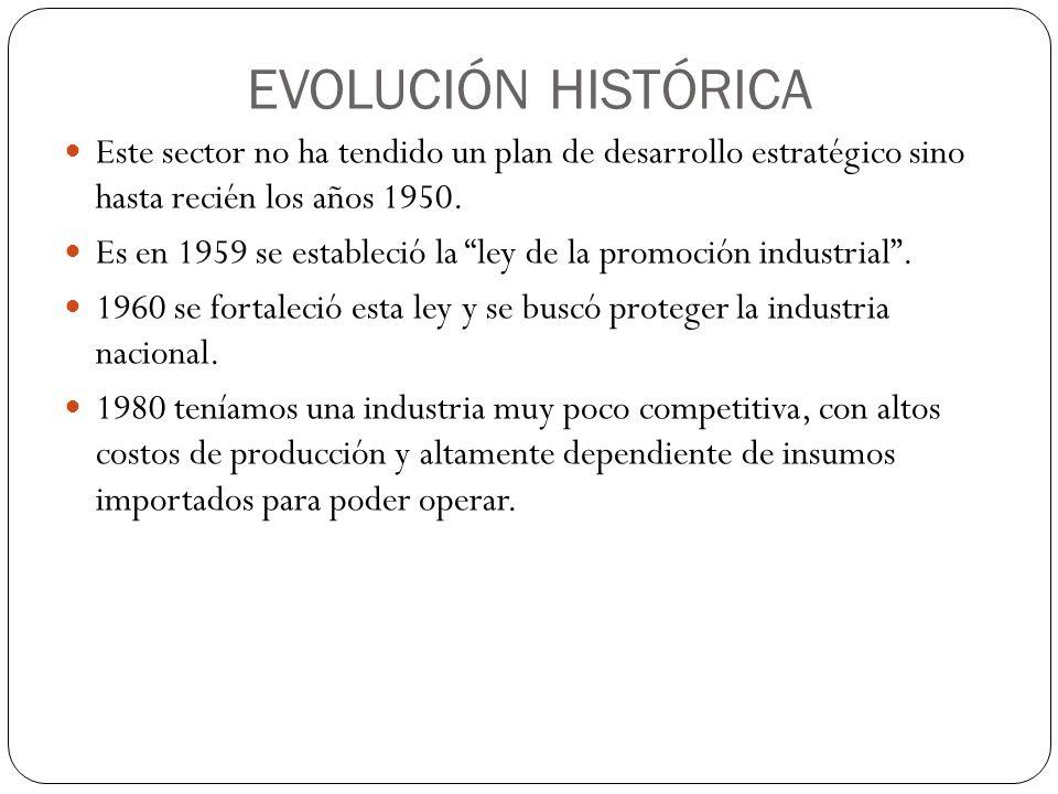 EVOLUCIÓN HISTÓRICA Este sector no ha tendido un plan de desarrollo estratégico sino hasta recién los años 1950.