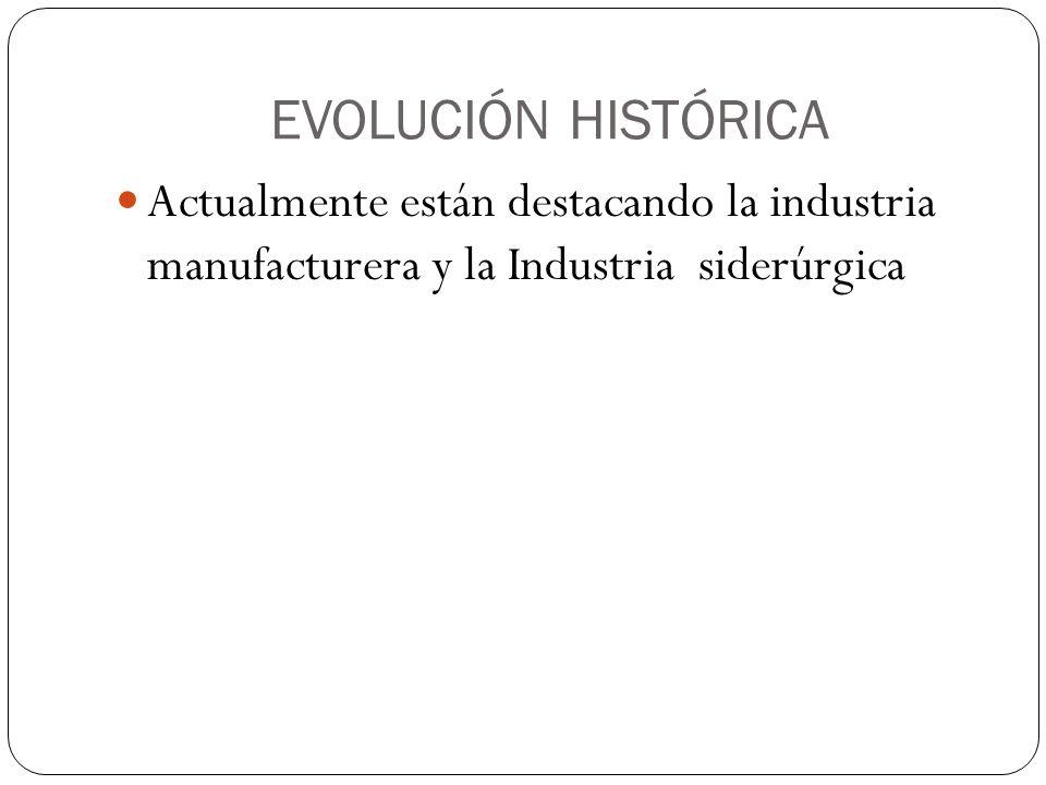 EVOLUCIÓN HISTÓRICA Actualmente están destacando la industria manufacturera y la Industria siderúrgica.