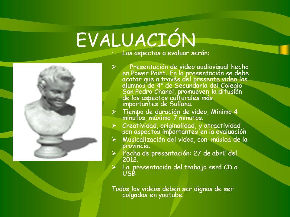 EVALUACIÓN Los aspectos a evaluar serán: