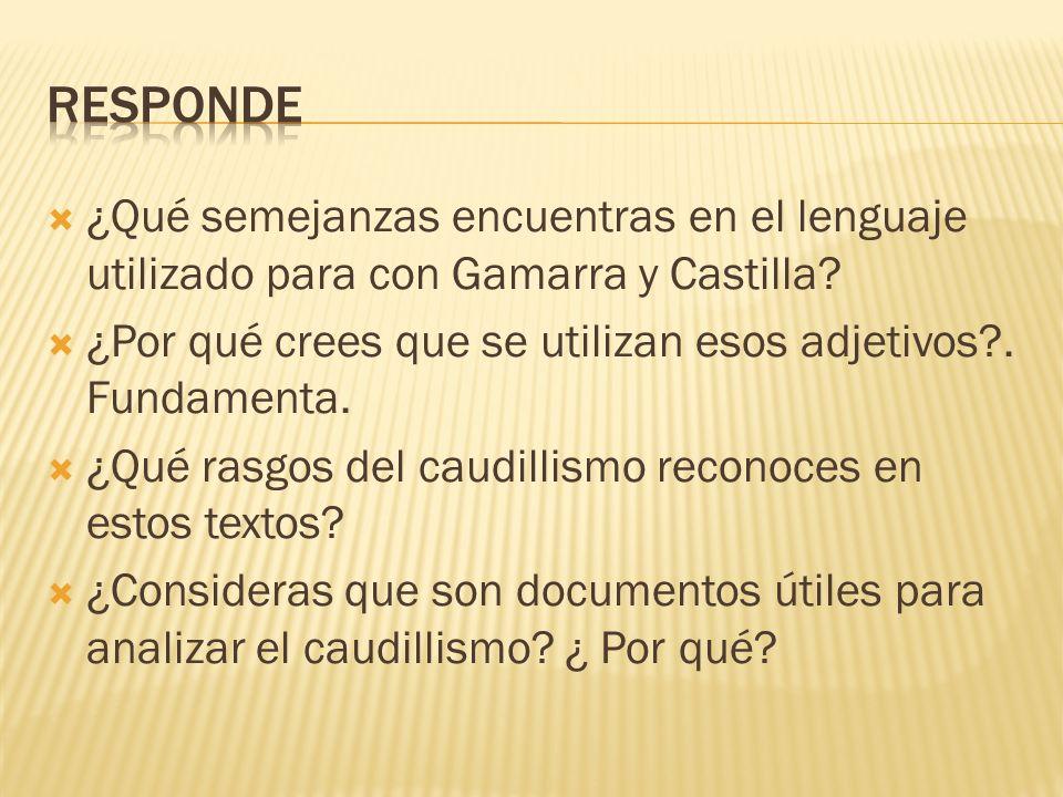 Responde ¿Qué semejanzas encuentras en el lenguaje utilizado para con Gamarra y Castilla