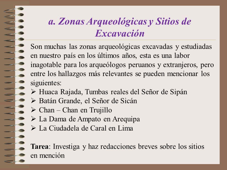 a. Zonas Arqueológicas y Sitios de Excavación