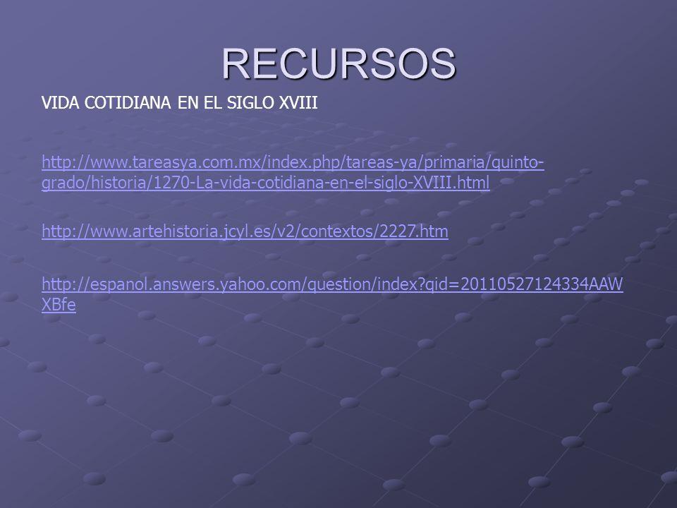 RECURSOS VIDA COTIDIANA EN EL SIGLO XVIII