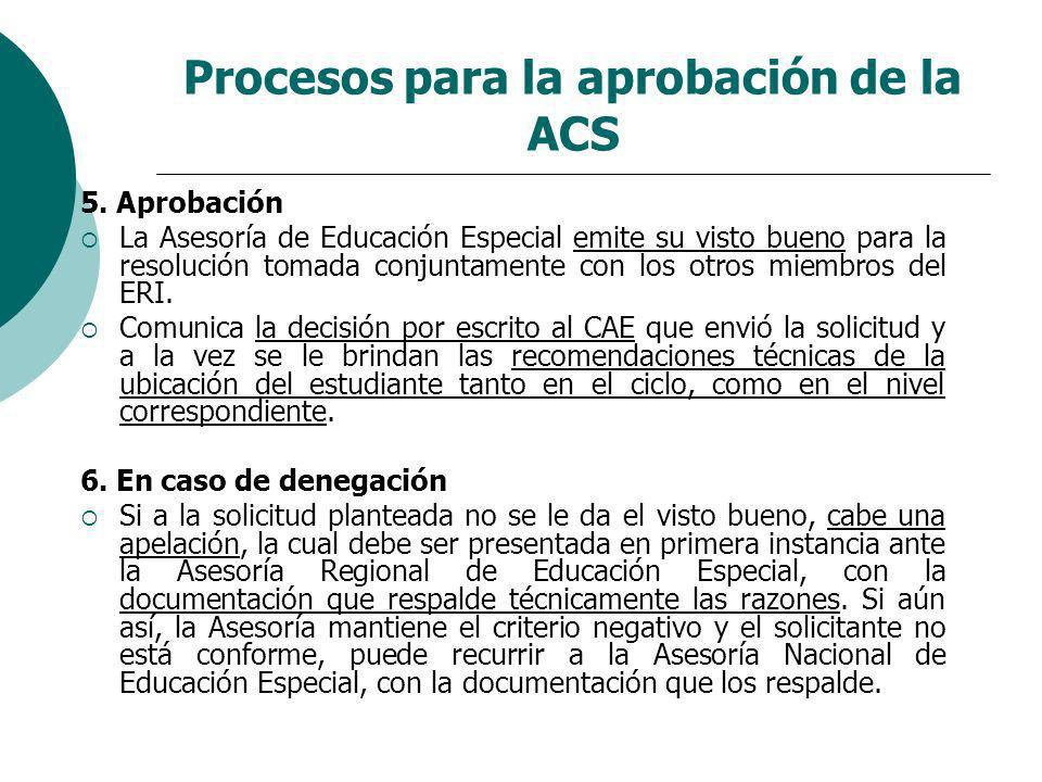 Procesos para la aprobación de la ACS