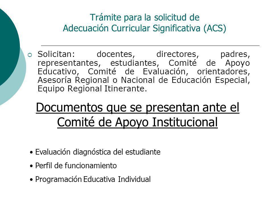 Trámite para la solicitud de Adecuación Curricular Significativa (ACS)
