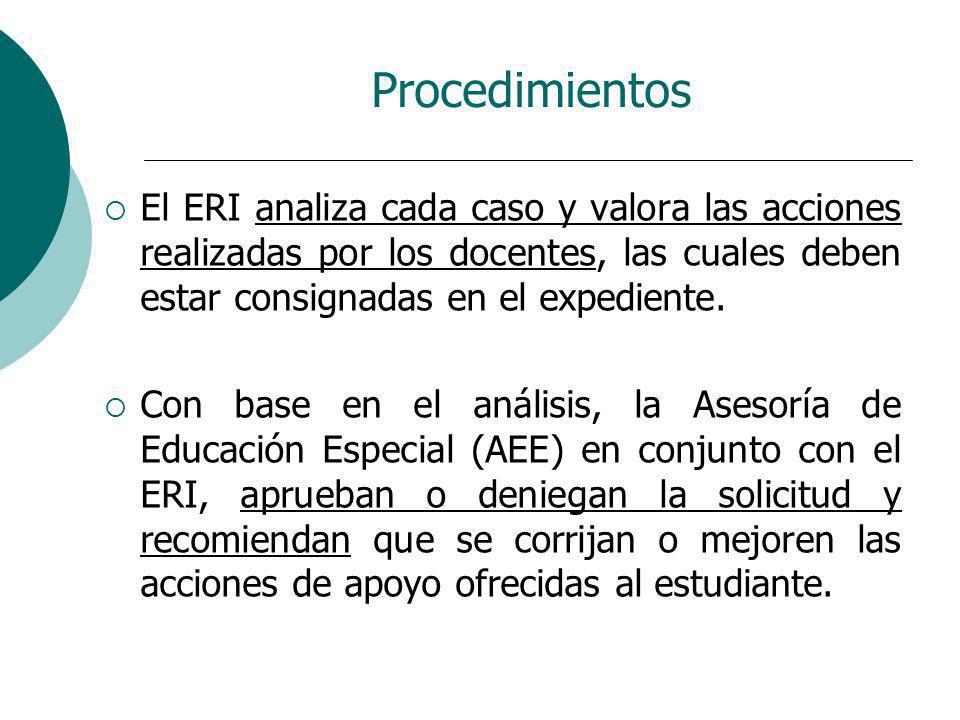 Procedimientos El ERI analiza cada caso y valora las acciones realizadas por los docentes, las cuales deben estar consignadas en el expediente.
