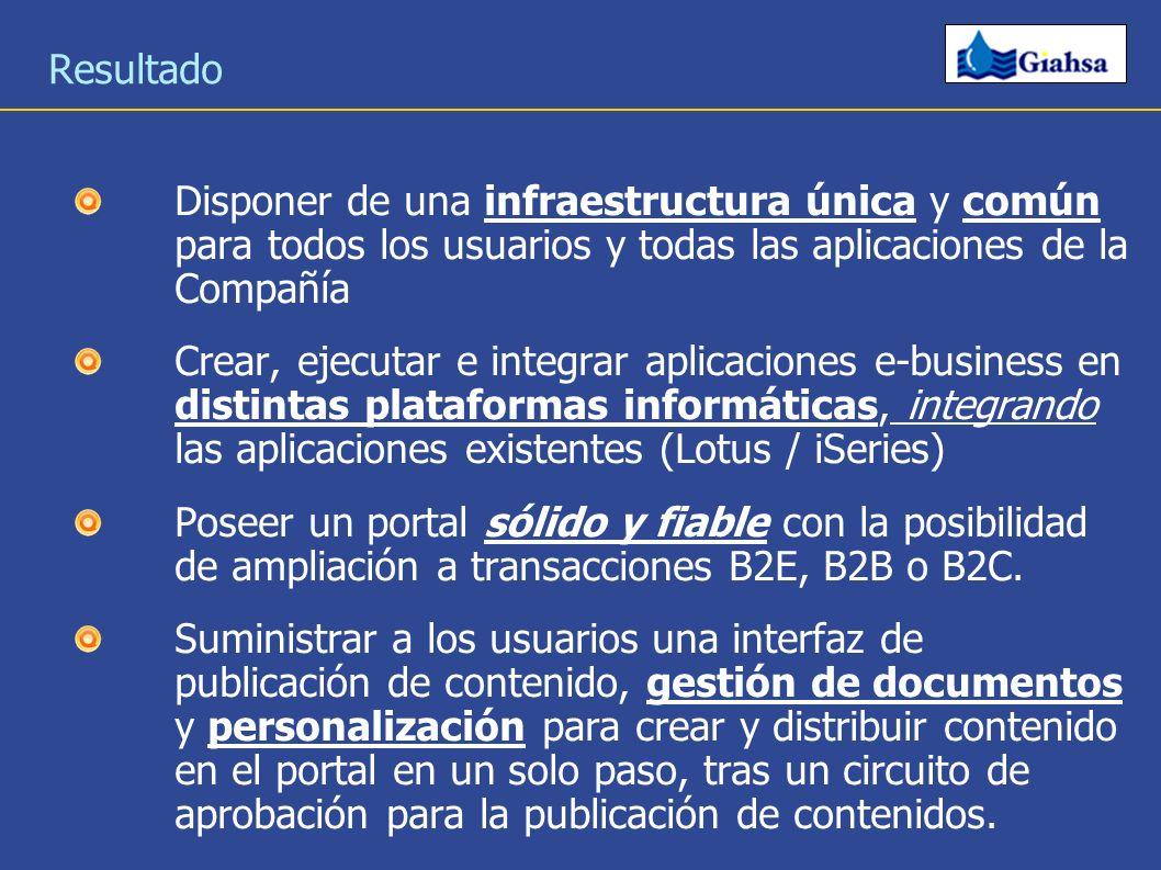Resultado Disponer de una infraestructura única y común para todos los usuarios y todas las aplicaciones de la Compañía.