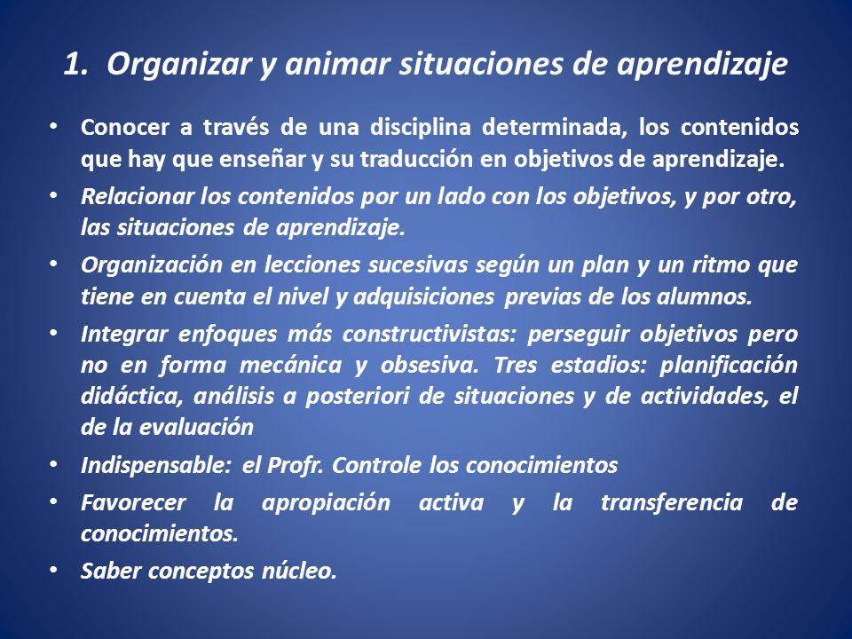 1. Organizar y animar situaciones de aprendizaje