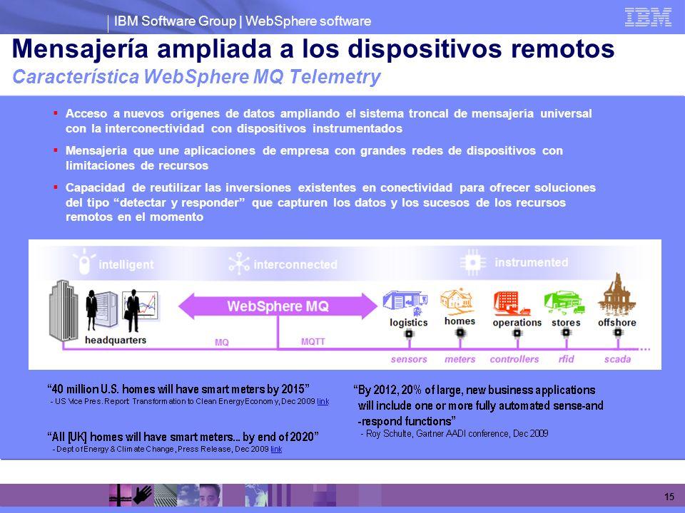 Mensajería ampliada a los dispositivos remotos Característica WebSphere MQ Telemetry