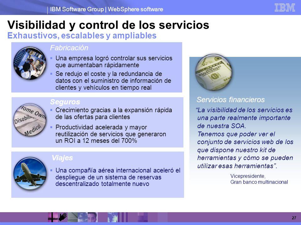 Visibilidad y control de los servicios Exhaustivos, escalables y ampliables