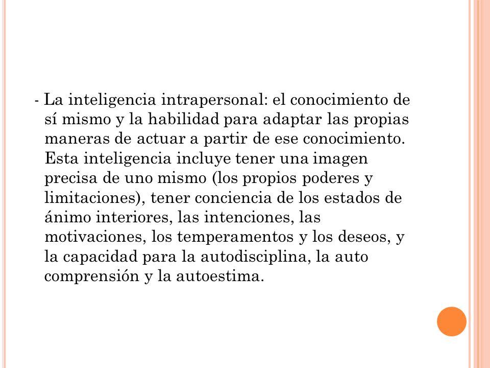 - La inteligencia intrapersonal: el conocimiento de sí mismo y la habilidad para adaptar las propias maneras de actuar a partir de ese conocimiento.