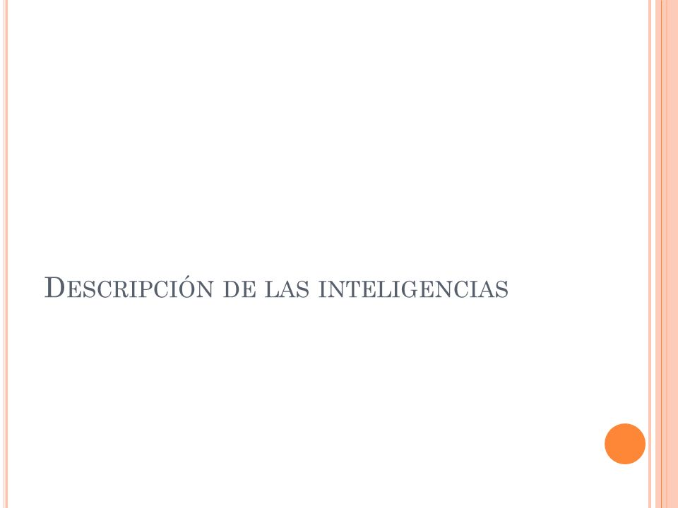 Descripción de las inteligencias